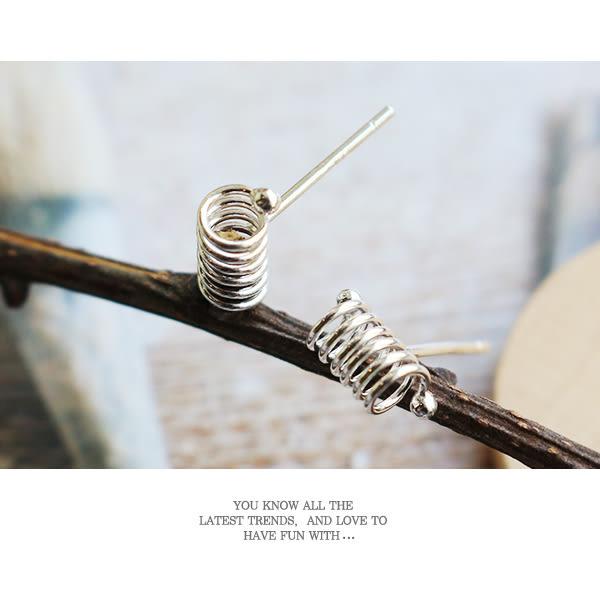 925純銀 個性女孩 彈簧圈形針式耳環_質物日誌Journal