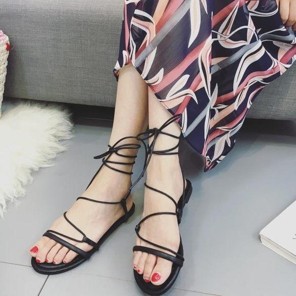 羅馬涼鞋 低跟涼鞋交叉綁帶復古羅馬鞋一字扣平底涼鞋 巴黎春天
