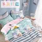 Artis台灣製 - 100%純棉【合版EB2】雙人床包+枕套二入+薄被套(台灣製)可愛貓咪系列