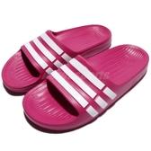 adidas 拖鞋 Duramo Slide K 粉紅 白 三條線 海灘拖 一片拖 運動拖鞋 大童鞋 女鞋【PUMP306】 G06797