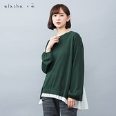 a la sha+a 層次假兩件包袖針織上衣