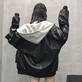 新年好禮 秋季韓版寬鬆拼接連帽皮衣加厚PU皮夾克機車服長袖開襟上衣外套女