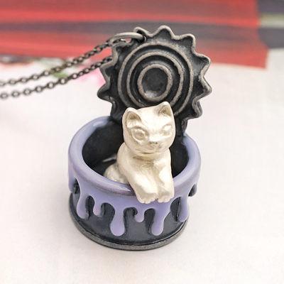 〔APM飾品〕日本Hilaris 驚喜連連罐頭貓咪項鍊 (粉貓咪) (白貓咪)