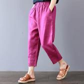 棉麻 下襬刺繡九分褲 2L-3L 獨具衣格 J2485