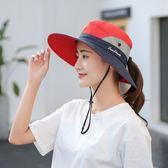 戶外遮陽帽子情侶漁夫帽女可折疊太陽帽夏季防曬帽騎車旅游登山帽 【618好康又一發】