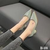 5cm粗跟尖頭大碼高跟鞋女中跟舒適職業OL工作鞋配裙子的早夏單鞋 LR22454『麗人雅苑』