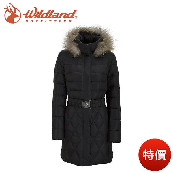 【出清特價 Wildland 荒野 女 貉子毛中長 羽絨衣 黑】 92101/羽絨衣