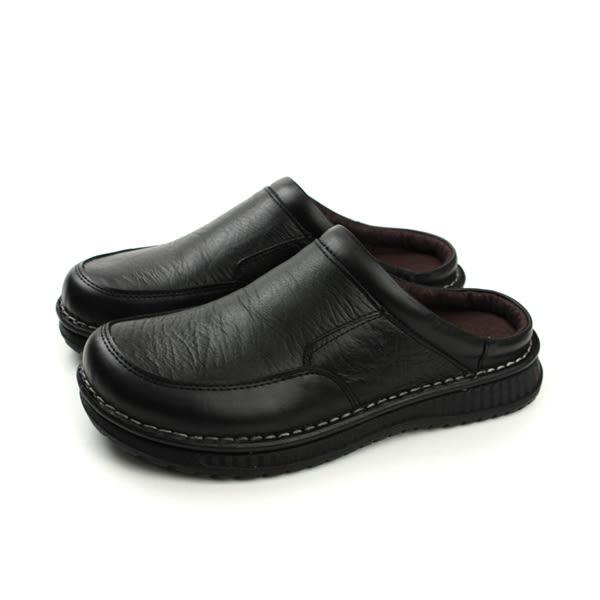 HUMAN PEACE 涼鞋 拖鞋 皮質 舒適 黑色 男鞋 H055 no003