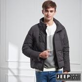 【JEEP】型男立領羽絨短版外套 (深灰)