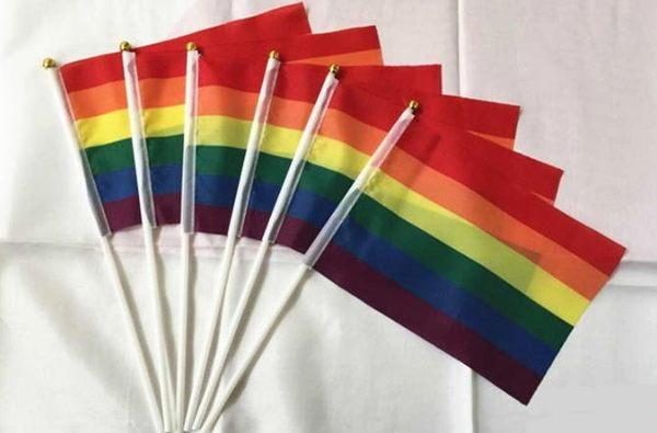 【NF271】Rainbow 4*21cm彩虹手摇旗同性婚姻多元成家同志旗帜男男女女遊行123自由日