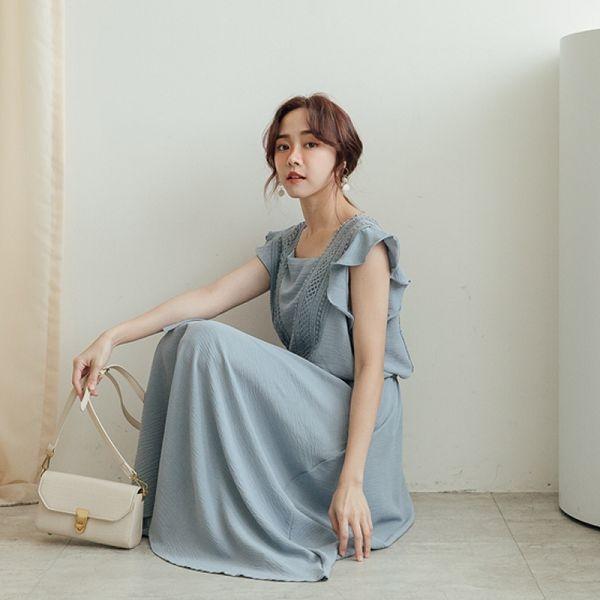 MIUSTAR 蕾絲V型拼接碎花/素面雪紡洋裝(共2色)【NJ1182LC】預購