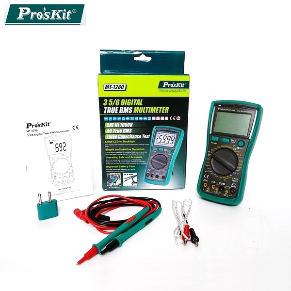 又敗家@台灣寶工Proskt真有效值3 5/6數位電表MT-1280萬用電錶三用電錶附探針棒量直交流電流