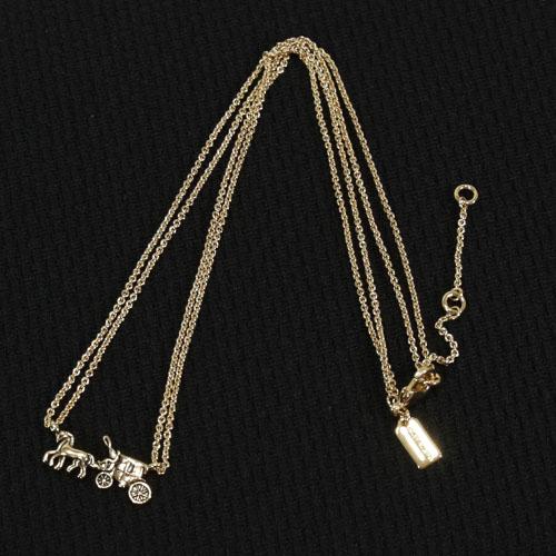 COACH 金屬馬車3段式項鍊(金色)