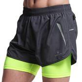 力為運動短褲男緊身雙層防走光田徑馬拉鬆訓練健身速干三分跑步褲  巴黎街頭