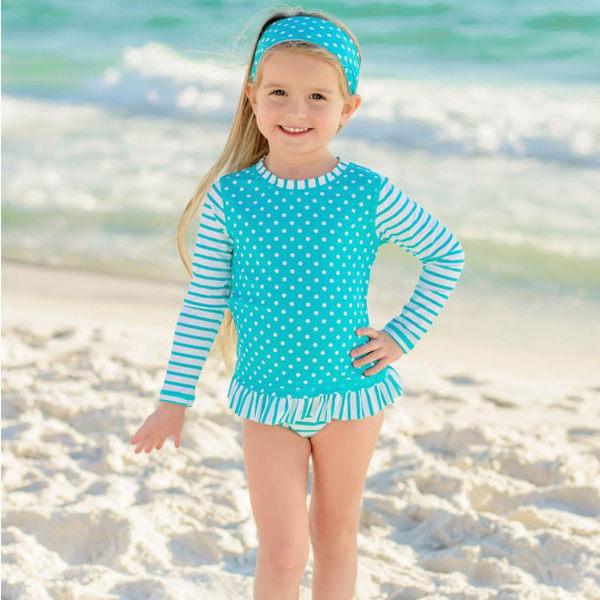 美國Rufflebutts-水藍條紋點點兩件式長袖泳裝