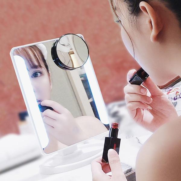 隨身化妝鏡正韓化妝鏡帶燈led燈台燈便攜台式鏡子公主鏡白色/黑色/粉色三色可選