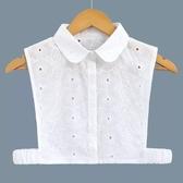 假領子假領片韓版 圓領緹花布小花 罩衫洋裝襯衫針織大學T外套內搭 白色[E1403]  預購.朵曼堤洋行