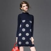 洋裝-長袖寬鬆圓領波點針織女連身裙2色73of25【巴黎精品】