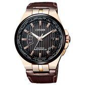 CITIZEN星辰Eco-Drive  紳士簡約電波光動能萬年曆限量款腕錶 CB0164-17E 玫瑰金