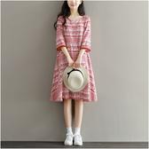 夏季女裝民族風裙流蘇復古印花中長款顯瘦A字裙五分袖棉綢連身裙