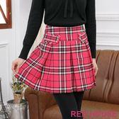 RED HOUSE-蕾赫斯-格紋百褶裙(桃紅色) 過年驚喜價 任選2件799元