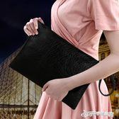 手拿包 2018新款歐美時尚休閒手抓包 韓版簡約純黑色信封包大手拿包女包 Cocoa