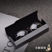 高檔金屬拉絲紋理鏡眼鏡盒男女士個性韓國創意簡約輕便攜復古