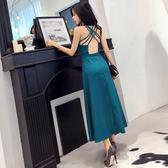 連衣裙女夏2018新款韓版氣質交叉吊帶露背V領無袖高腰大擺長裙潮