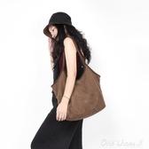 澄心女子原創設計簡約麂皮絨布袋包手提包文藝復古百搭帆布單肩包【免運快出】