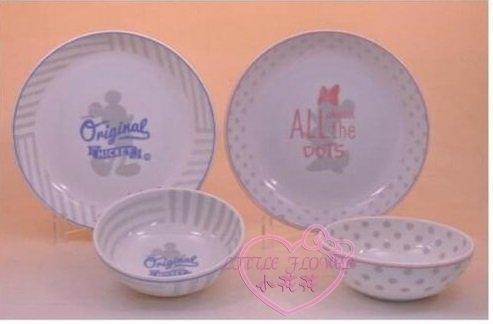 ♥小花花日本精品♥迪士尼米奇米妮全身剪影一對碗盤組寬口碗盤組合-四件組碗公泡麵碗11806301