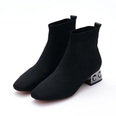 MICHELLE PARK 千金時尚 針織水鑽粗跟襪靴-黑