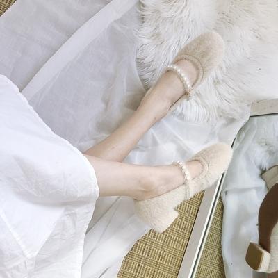 毛毛鞋 棉鞋毛毛鞋女冬外穿粗跟瑪麗珍鞋2020新款一腳蹬中跟仙女溫柔加絨單鞋
