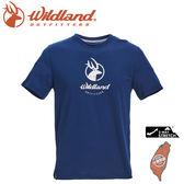 【Wildland 荒野 男 彈性印花經典抗UV上衣《深藍》】0A71630/運動衣/吸濕排汗/T恤/防曬