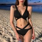 泳衣女ins風歐美性感比基尼三點式綁帶美背小胸聚攏 模特藝考泳裝