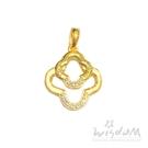 威世登 黃金花型鑲白石墜(不含鍊) 金重約0.57~0.59錢 GD02141-AAXX-FIX