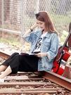 女牛仔外套 韓版寬鬆貓鬚破洞學生夾克