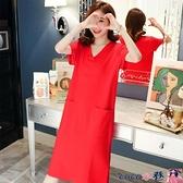 熱賣短袖連身裙 短袖T恤裙女夏季長款過膝寬鬆純棉大碼女裝2021新款中長款連身裙 coco
