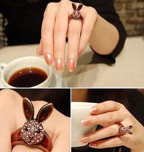 飾品 複古滿鑽做舊百搭時尚潮女兔子戒指