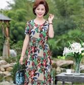 媽媽夏裝  媽媽夏裝棉綢連身裙2019新款中年婦女40歲50中老年女高貴短袖裙子 玫瑰