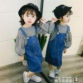 童裝春裝兒童吊帶裙1-2-3-4歲寶寶牛仔吊帶裙韓版0公主洋裝春秋 魔方數碼館