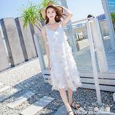 沙灘裙海南三亞泰國海邊度假長裙仙女洋裝吊帶超仙甜美 三角衣櫃