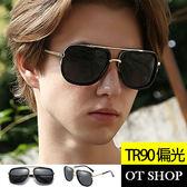 OT SHOP太陽眼鏡‧TR90混搭金屬微方框偏光抗UV400墨鏡街頭明星雷朋款‧現貨‧金框全黑‧T42