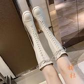 長筒靴女長筒學生高筒白色騎士靴不過膝靴【橘社小鎮】