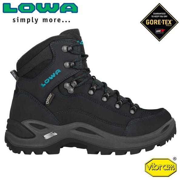 【LOWA 德國 女 Renegade GTX Mid中筒多功能健行鞋《灰黑/藍綠》】LW320945/健行鞋/登山鞋