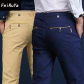 休閒褲男薄款休閒褲男士直筒修身商務西褲寬鬆黑色褲子男  薔薇時尚
