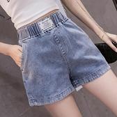 牛仔短褲 胖MM大碼牛仔短褲女夏2021新款寬鬆顯瘦鬆緊高腰闊腿直筒褲ins潮 韓國時尚週
