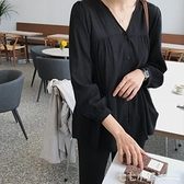 春夏新款韓國學生v領七分袖黑色襯衫女寬鬆棉麻娃娃衫燈籠袖上衣