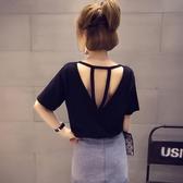 短袖女T恤新款韓版黑色鏤空露背性感寬鬆純色體恤半袖上衣潮