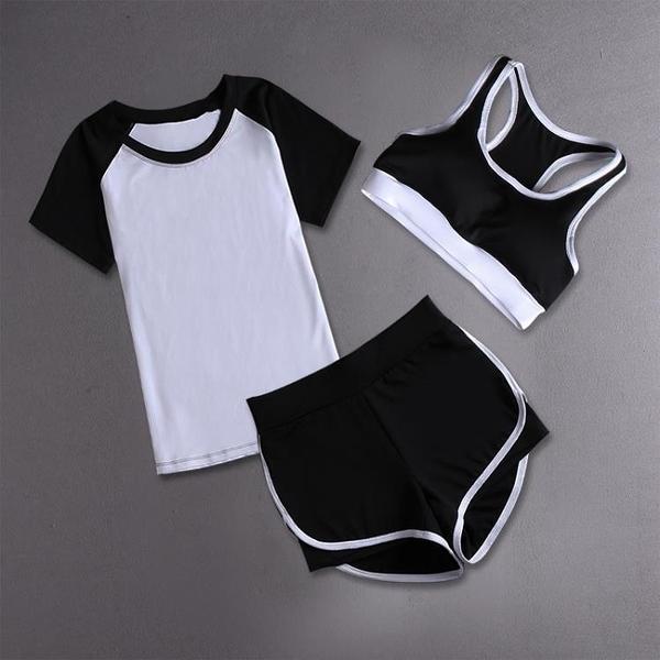健身房運動套裝女夏2020新款專業跑步健身服速干晨跑瑜伽服套裝女 【免運】
