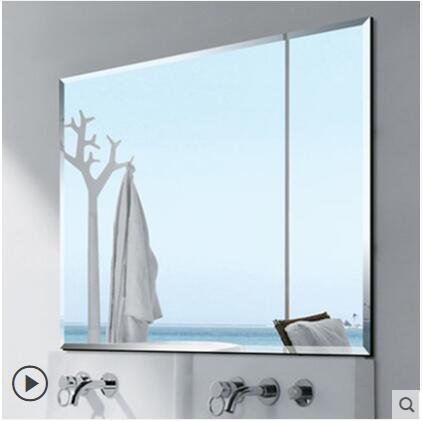 浴室鏡子免打孔廁所衛浴鏡粘貼圓鏡洗手間鏡子貼牆衛生間鏡子壁掛【斜邊80*100可壁掛可粘貼】
